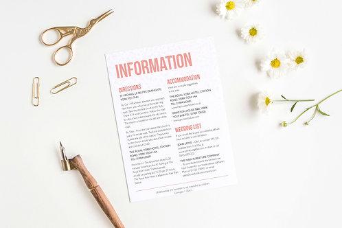 Be Bold wedding details card