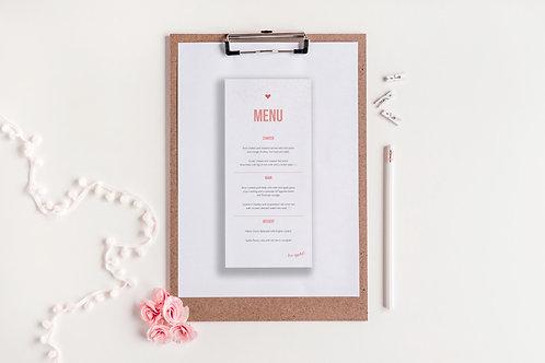 Be Bold Wedding Menu