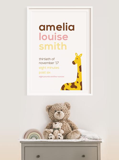 Giraffe Newborn Print
