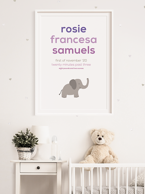 Elephant Newborn Print