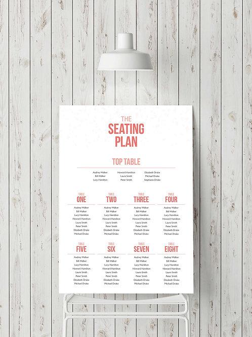 Be Bold Wedding seating plan