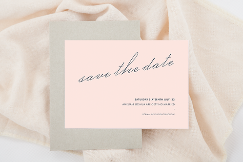 Demure save the date card pink