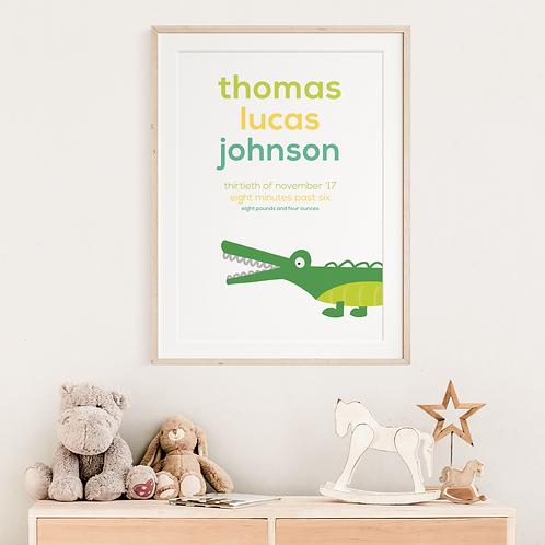 Crocodile Newborn Print