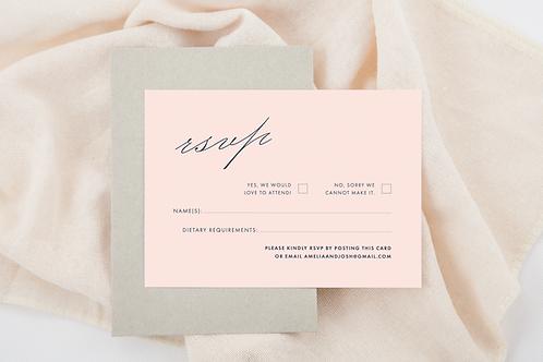 RSVP Wedding Card Pink