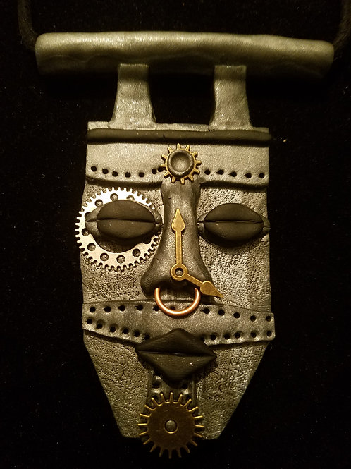 steampunk polymer mask necklace
