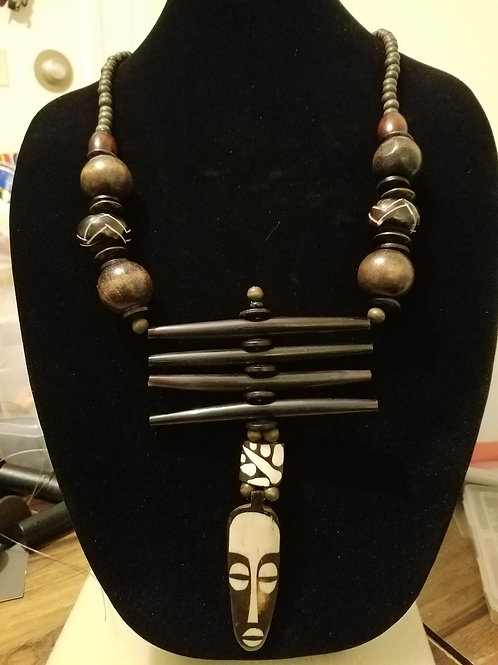 ONE OF A KIND beaded AfroMask Necklace