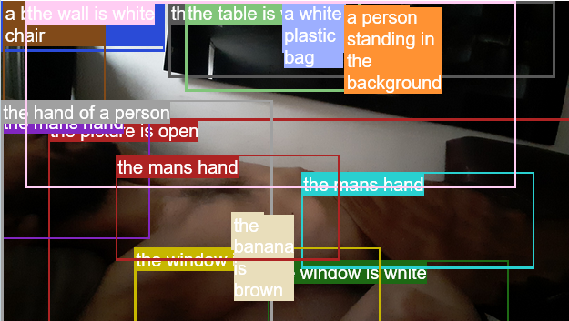 oh! the hand of a person the mans hand a person standing in the background but the banana is brown the window is white
