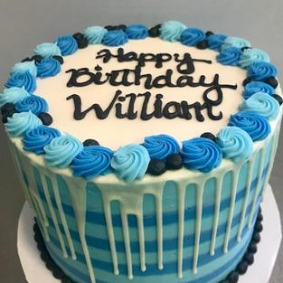 Blue Stripes Drip Cake