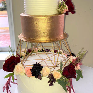 Geometric Cake Stand with Gold Tier