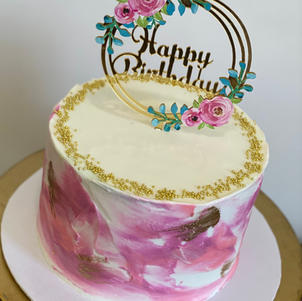 Watercolor Cake with Gold Pearls