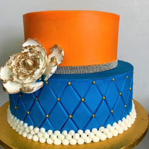 Orange and Blue Tiered with Quilting