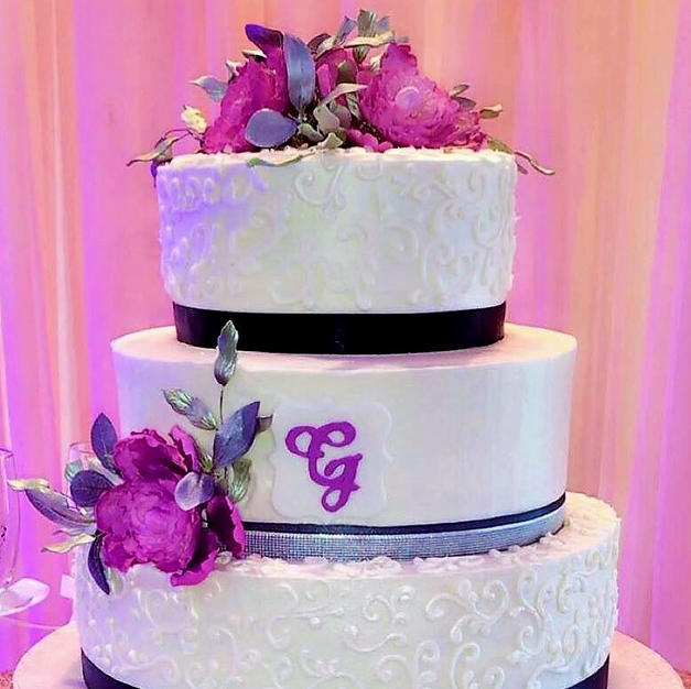 Scrollwork, Sugar Flowers, and Monogram