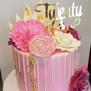 Gold Leaf and Sugar Flower Drip Cake