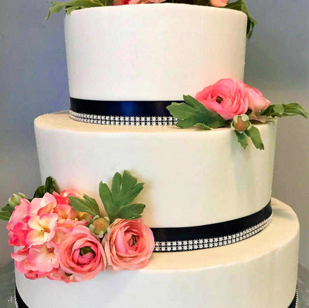 Navy and Blush Wedding Cake