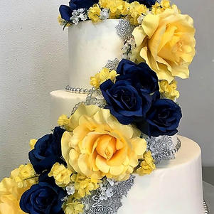 Pale Yellow, Navy, Silver Lace Wedding C