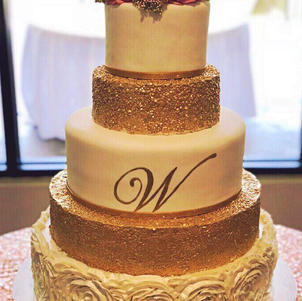 Gold Sequins and Rosettes Wedding Cake.j
