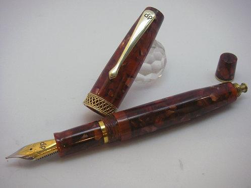 Stilografica in celluloide Copper & Gold button/filler