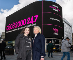 Natasha and Lisa King for Refuge at Piccadilly Circus in March 2020