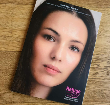 Natasha as the face of Refuge's Annual Report