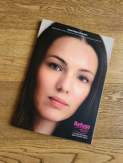 Natasha as the face of Refuge's 2018/2019 Annual Report
