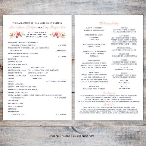 Wedding Program - Item# PG016