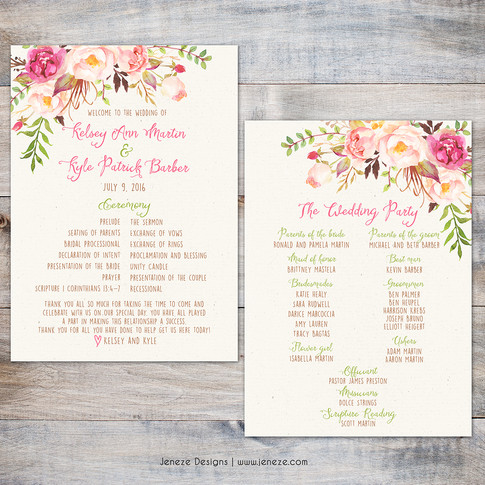 Wedding Program - Item# PG020
