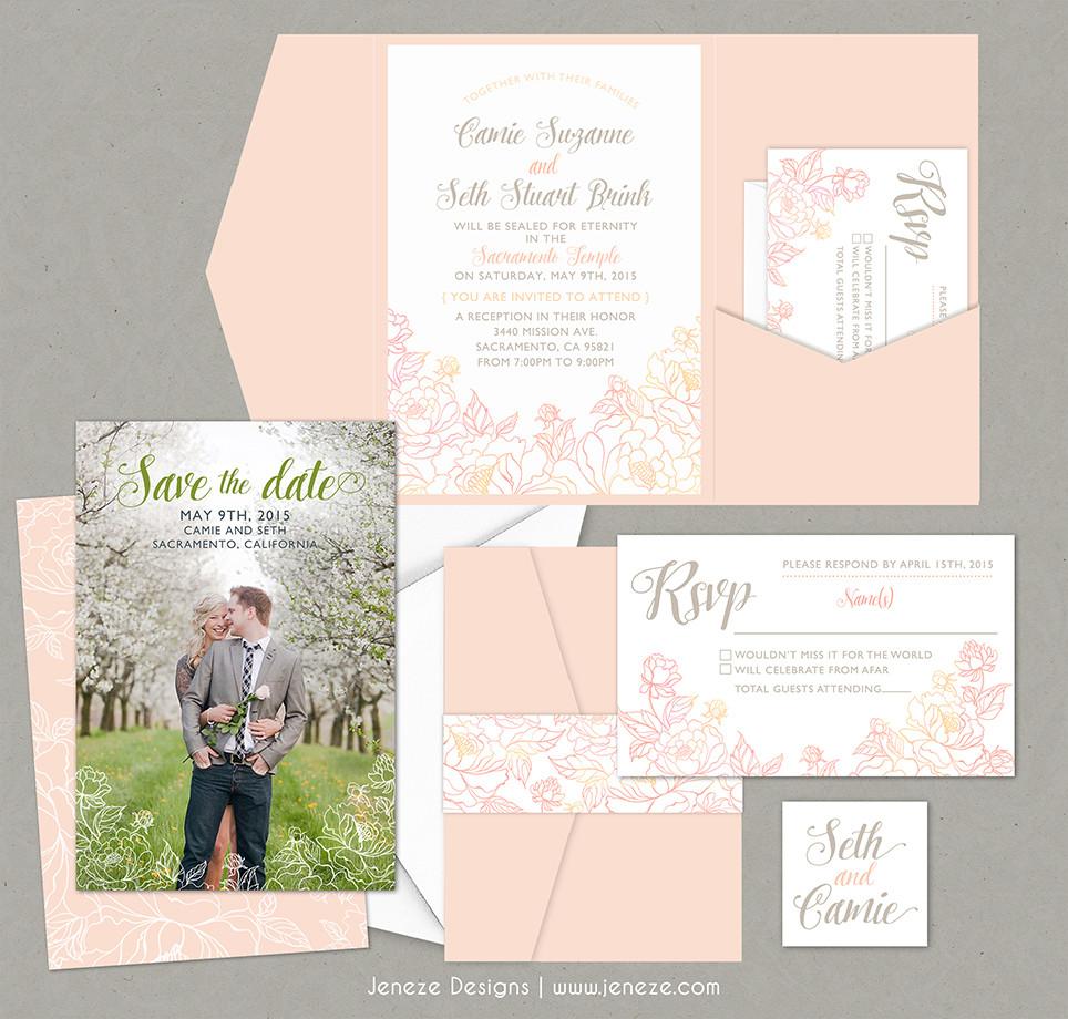 Jeneze Designs Custom Wedding Invitations   POCKET INVITATIONS