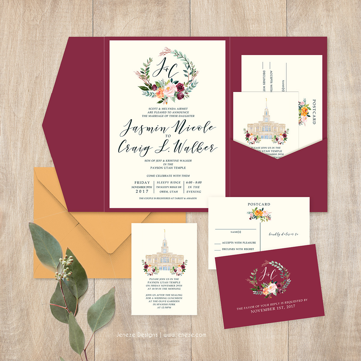 Jeneze Designs Custom Wedding Invitations | POCKET INVITATIONS