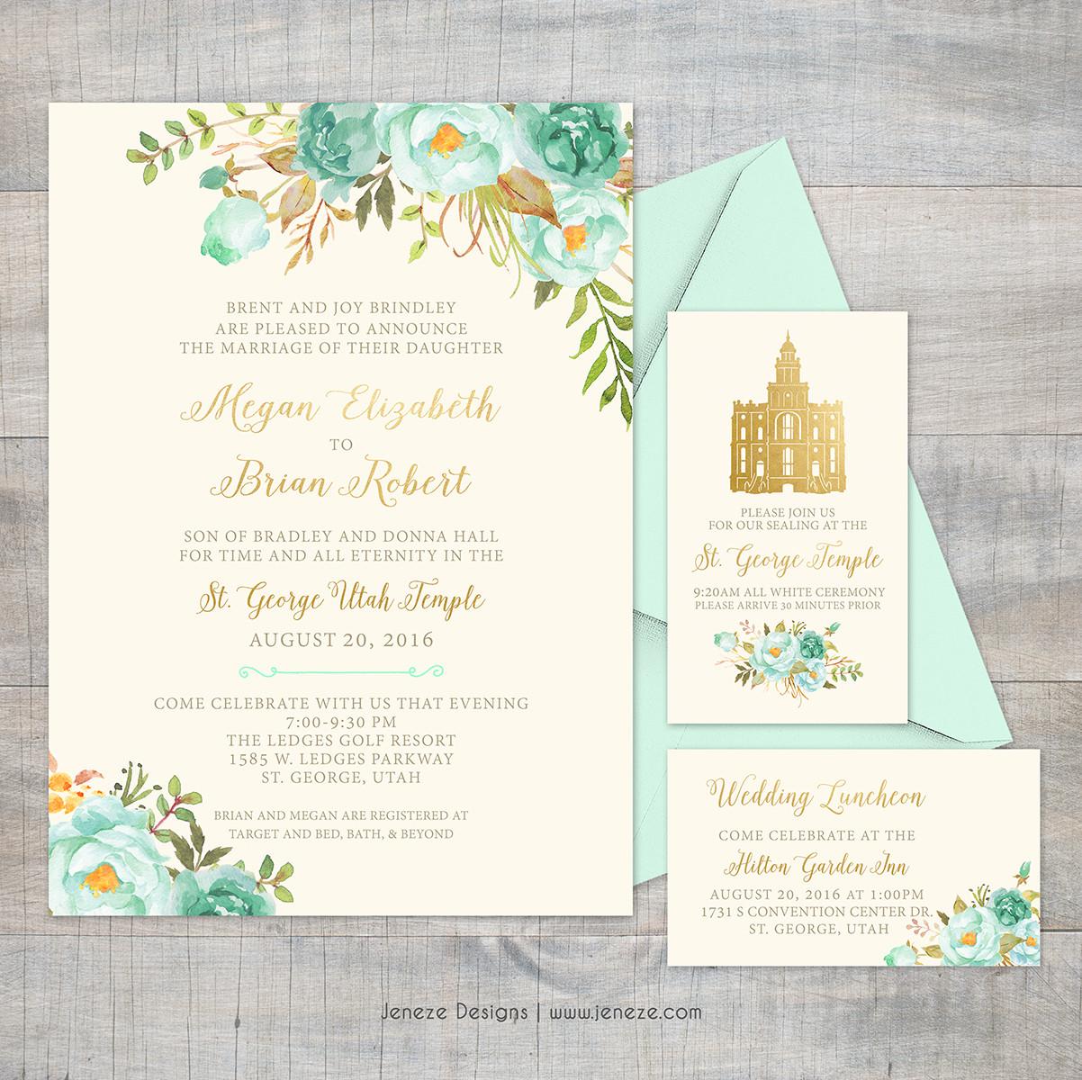Invitation - Item# CA280   Jeneze Designs Custom Wedding Invitations