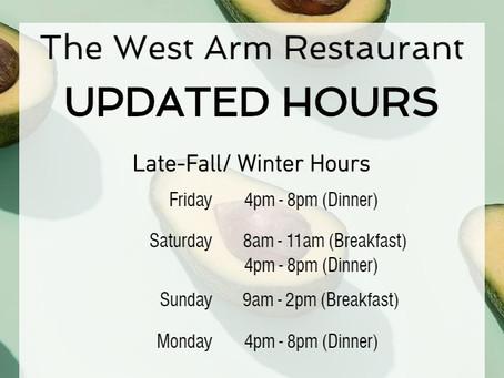 Restaurant Hours Update