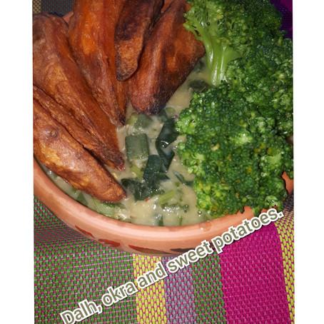 Dal stew,okra with sweet potatoes.