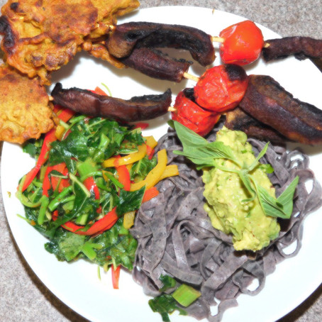 Black beans and sesame pasta with calaloo  and mushrooms skewers