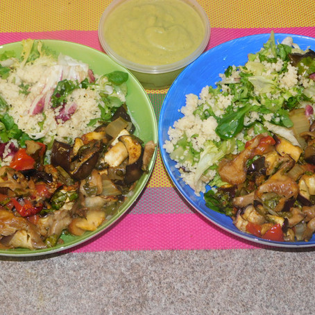 The roasted ones with couscous and mix leaves