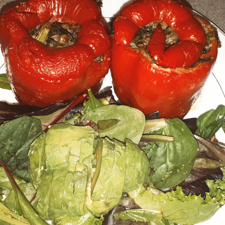 Stuffed quinoa bell peppers  with kale and lentils.