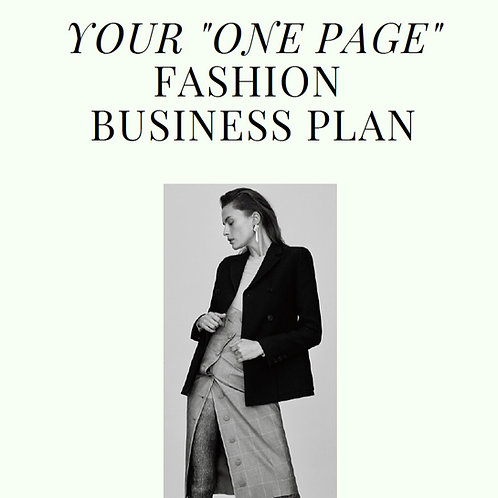 ONE-PAGE FASHION BUSINESS PLAN