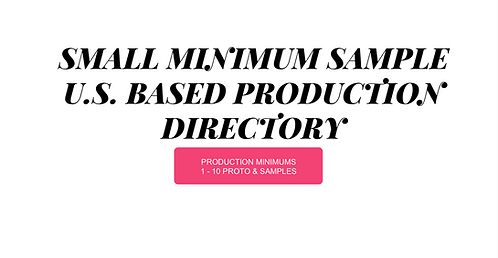 Small Sample Production Directory (1-10 Sample / Proto Min)