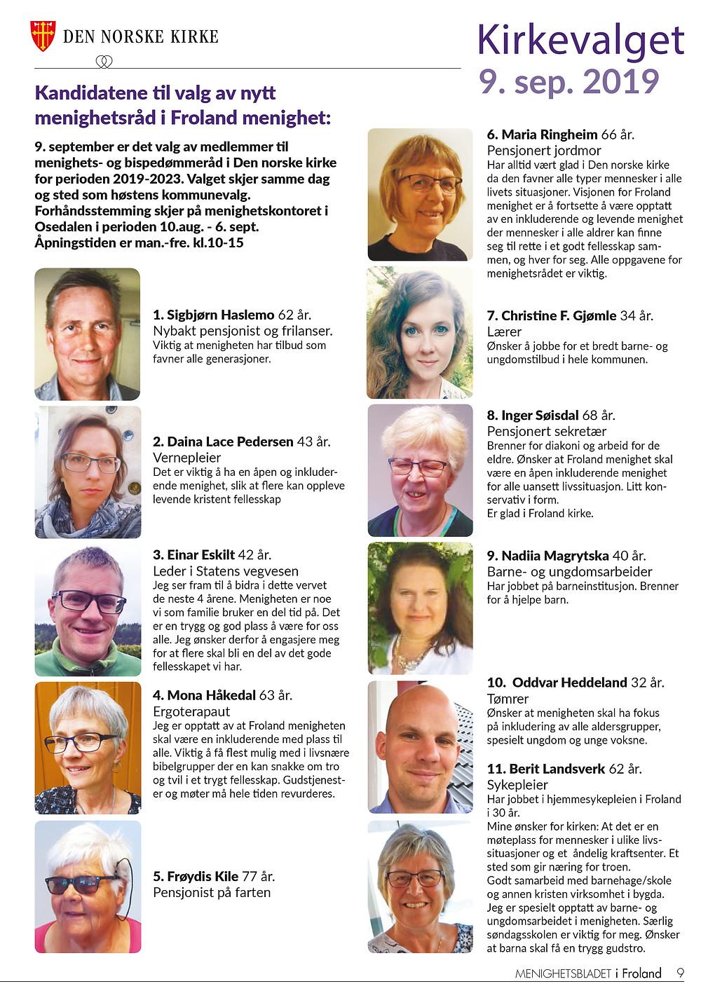 Kandidater kirkevalget