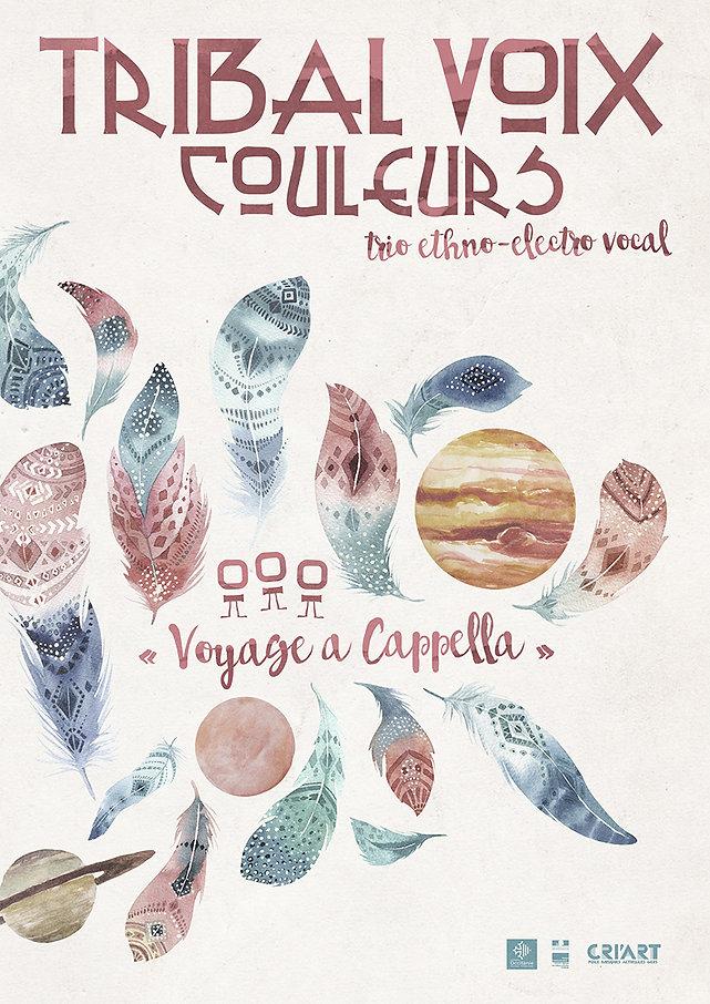 """Affiche TRIBAL VOIX COULEURS """"Voyage A Cappella"""""""