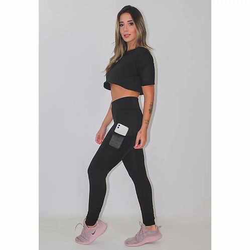 Conjunto Fitness Cropped Preto + Calça Legging com Bolso Tela