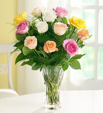 Moms Favorite Roses In Lenox Crystal Vase Puskas Flowers Local