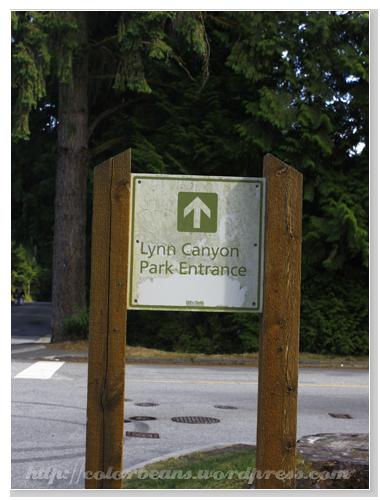 跟著指標往Lynn Canyon Park前進摟