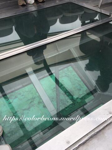 玻璃船底可看到清澈的湖水