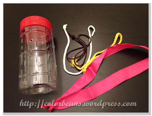 繩子和空瓶做拉拉看