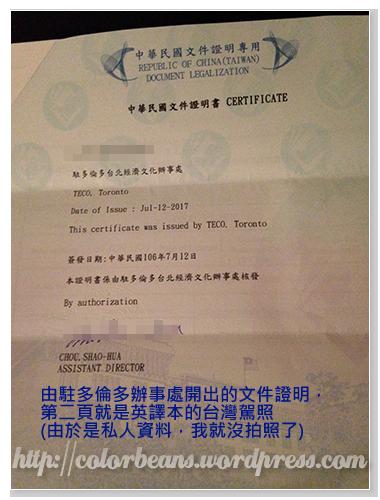 驗證的台灣駕照英譯本