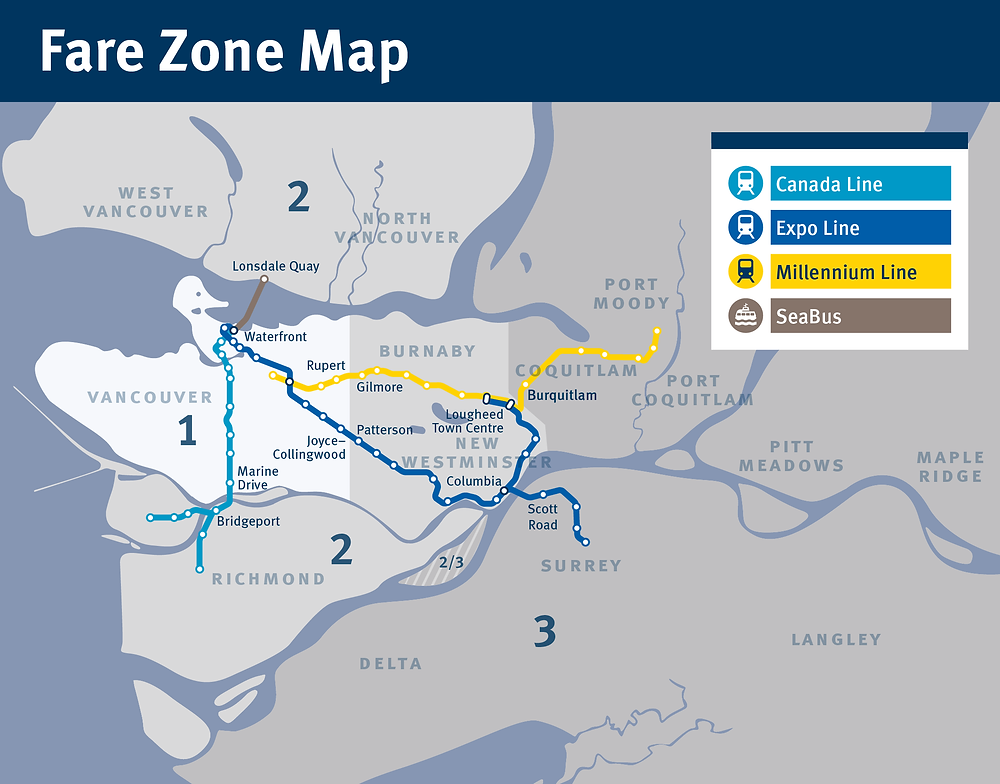 SkyTrain Fare Zone Map (圖片連結自TransLink)
