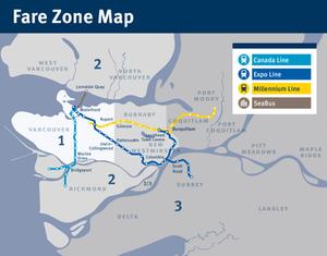 SkyTrain Fare Zone Map (圖片連結自TransLink)