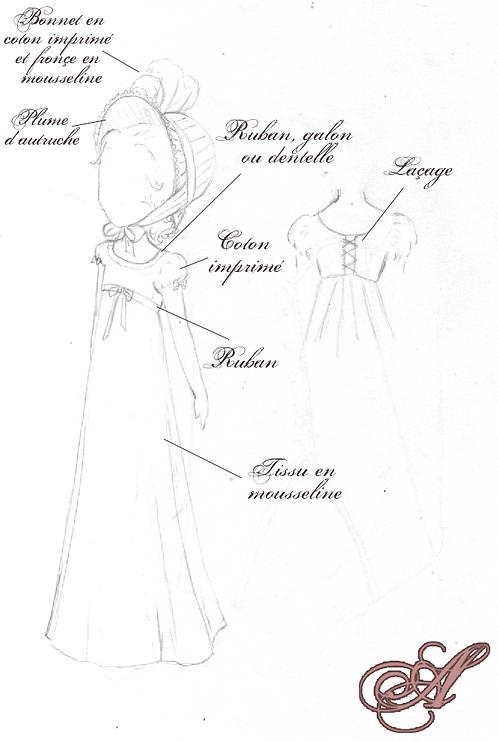 Acompte robe + bonnet 1er empire enfant