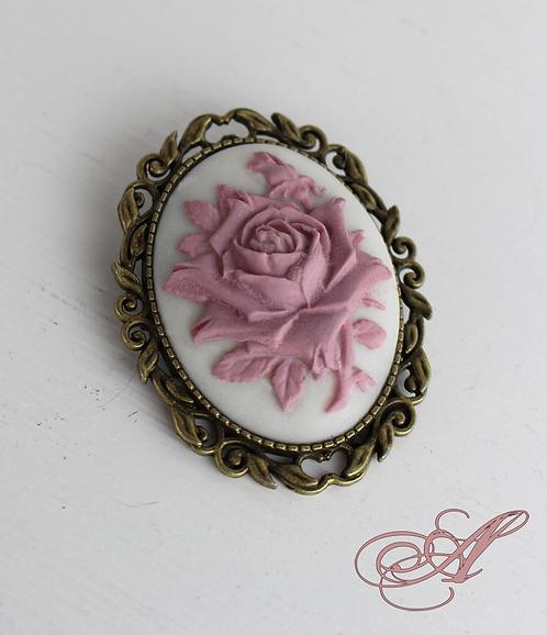 Broche camée fleur support bronze