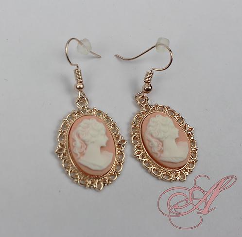 Boucles d'oreilles camée support rose
