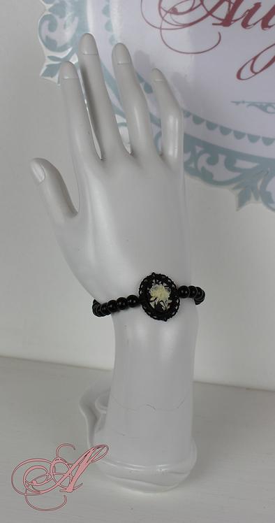 Bracelet camée perles noir